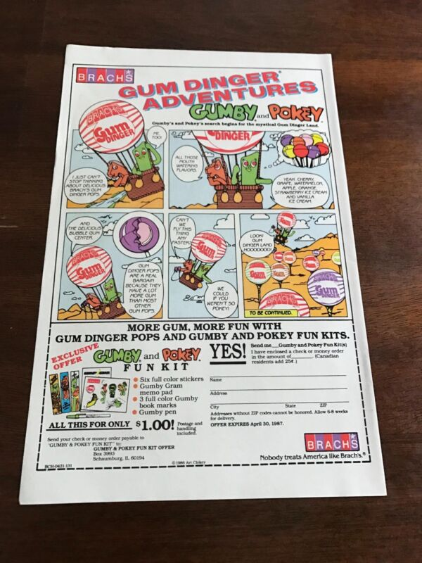 "1986-7 LOT OF 3 VINTAGE 6x10"" PRINT ADS Brachs Gumby+Pokey Gum Dinger Adventure"