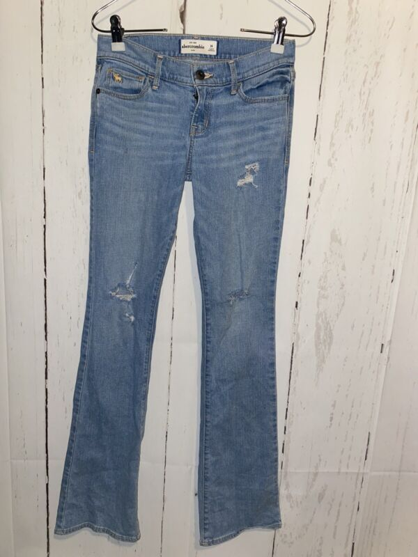 Girls Abercrombie Kids Distressed Ripped Bell Bottom Flare Jeans Size 14