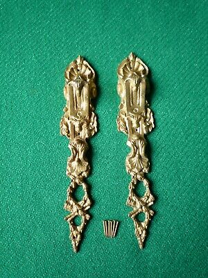 Pair of Antique Cast Brass Ormolu Mounts for Bookcase/Cabinet