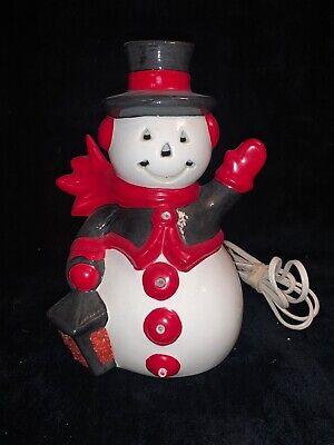 Vintage RARE Ceramic 1979 Light Up Snowman Hand Painted Atlantic Mold Halloween
