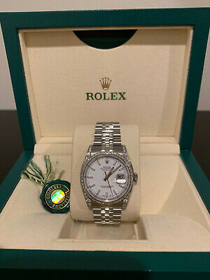 Rolex Datejust 116200 White Dial 36mm face custom with diamonds