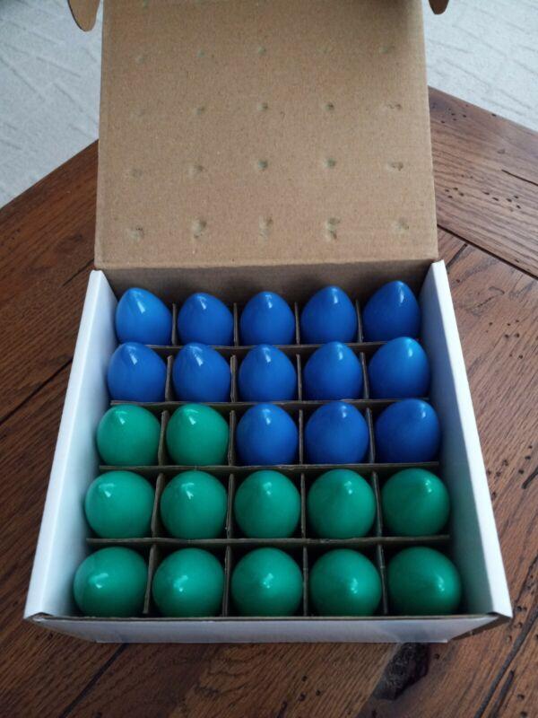 Novelty Lights 25 PC.  C9 Long Life Bulbs 130 Volt 7 Watt Indoor/Out Blue/Green