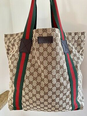 GUCCI Classic Original GG Canvas Web Tote Bag in Brown/Beige/Ebony SOLD OUT!