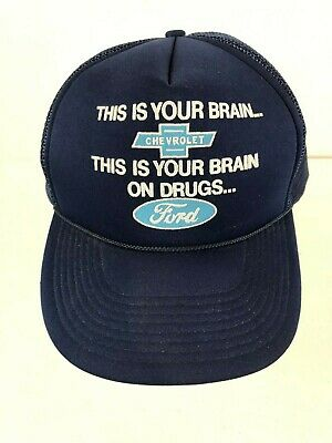 This is Your Brain Chevrolet Brain on Drugs Ford Vintage Snapback Hat Cap - Brain Hats