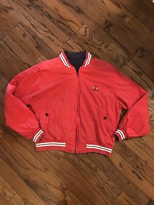 VTG  Nautica Challenge J Class Bomber Red Spell Out Jacket 1930 1937 XL