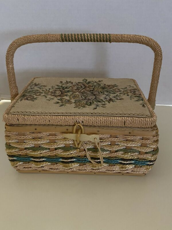 VIntage Sewing Basket, Woven Wicker, Tapestry Top + Contents