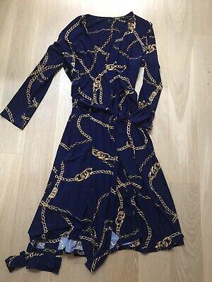 Lauren Ralph Lauren Chain Print Wrap Jersey Dress Navy 2