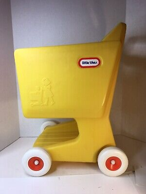 Little Tikes Yellow Grocery Shopping Cart Child Size Pretend Play Vintage USA
