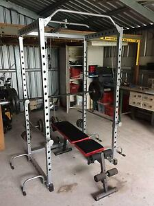 Power Cage Squat Rack Bench Press Lat Pulldown Bars & Weights Tingalpa Brisbane South East Preview