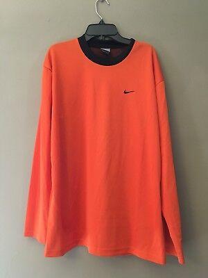 Nike Long Sleeve Jersey - Nike Men's Orange Long Sleeve Jersey Material Long Sleeve Top Size Medium