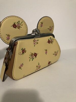COACH KISSLOCK WRISTLET Bag FLORAL MINNIE MOUSE EARS F29360 Purse Yellow New