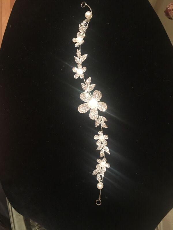 Bridal Floral Hair Vine Crystal Silver flower pearl Wedding  Comb Headpiece