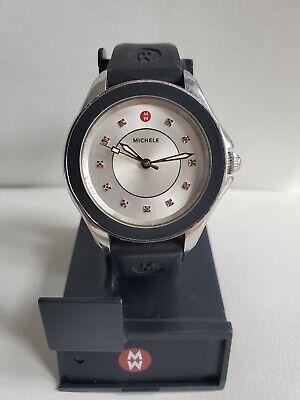MICHELE Cape swiss women's watch gemstones 0.05Ct black rubber band MWW27A000013