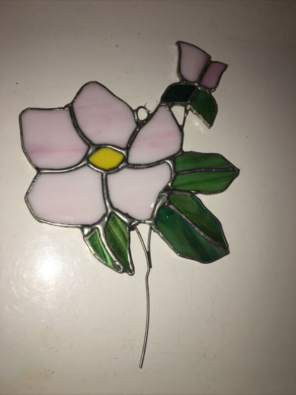 Stained Glass Suncatcher Opalescent Pink Flowers Leaded 8 In