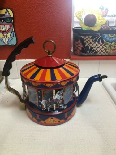 Vintage Kamenstein MKI World Of Motion Carousel Horses Steam Driven Tea Kettle