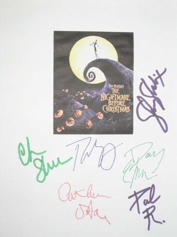 The Nightmare Before Christmas Signed Movie Script X6 Tim Burton Reubens reprint