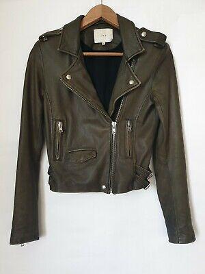 Iro Ashville Cropped Leather Biker Jacket, Olive, Size 0 , UK 6 , Net-a-Porter