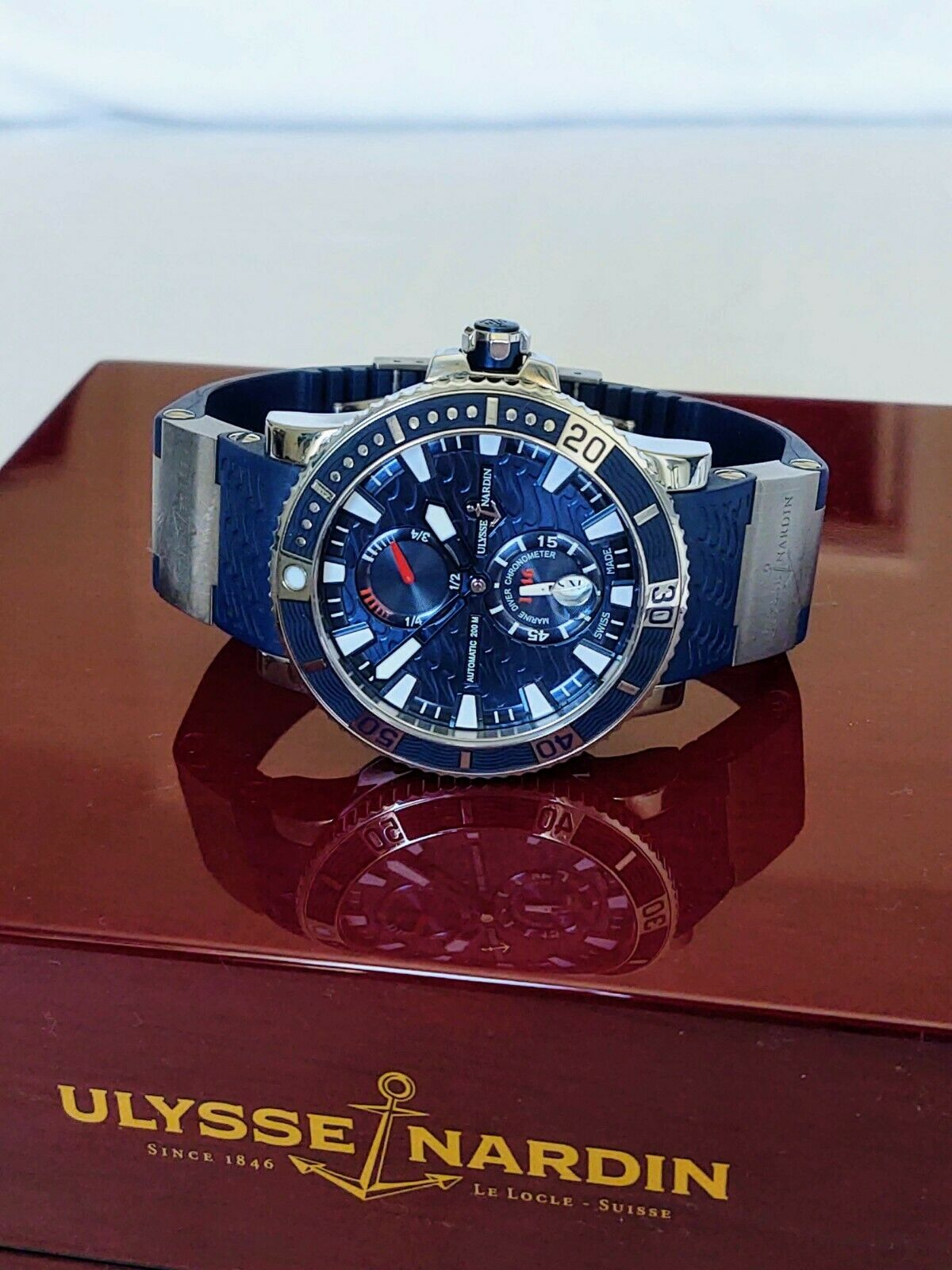 Ulysse Nardin Maxi Marine Diver Titanium Watch 263-90-3/93 Box & Papers
