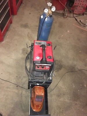 140 Hd Lincoln Mig Welder With Cart 4 Argon Tank Helmet Gloves