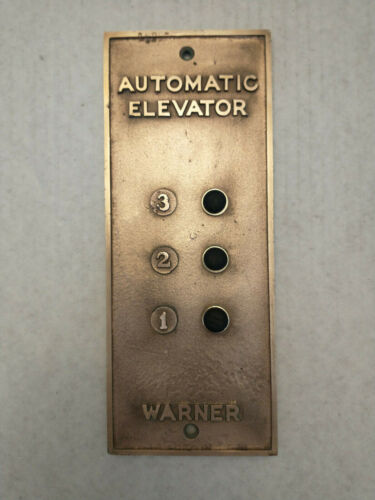 "Warner Automatic Elevator Cinti, OH Vintage Brass Panel 4 1/4"" x11"", 1 lb 12 oz"