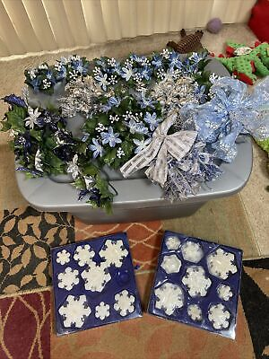 Artificial Silk Flowers and Bows Baby Blue Silver Candle Rings Centerpiece Blue