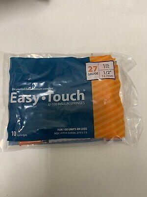 1 Bag Of 10 Easy Touch U-100 27 Gauge 1ml 12 Long Tip Syringe