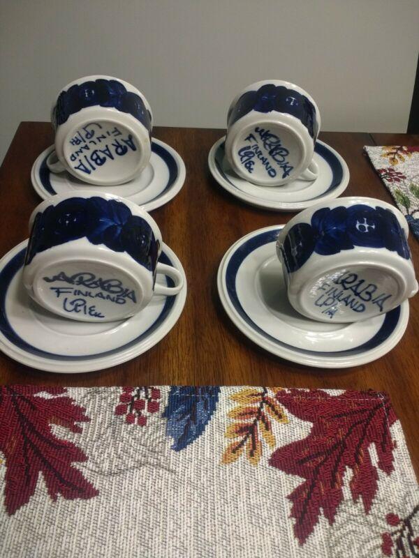 ARABIA Finland Anemone Ulla Procope Blue Demitasse Cups Saucers Lot of 4