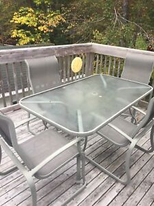 Glass patio table & chairs
