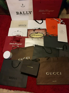 Assortment of luxury brand paper shopping bags