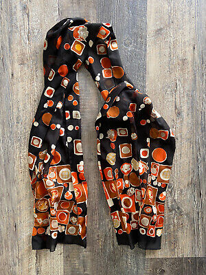 Vintage Scarf Styles -1920s to 1960s Vintage Rectangular Scarf Floral Flower Polka Dot Black Orange Brown Fall Colors $12.99 AT vintagedancer.com