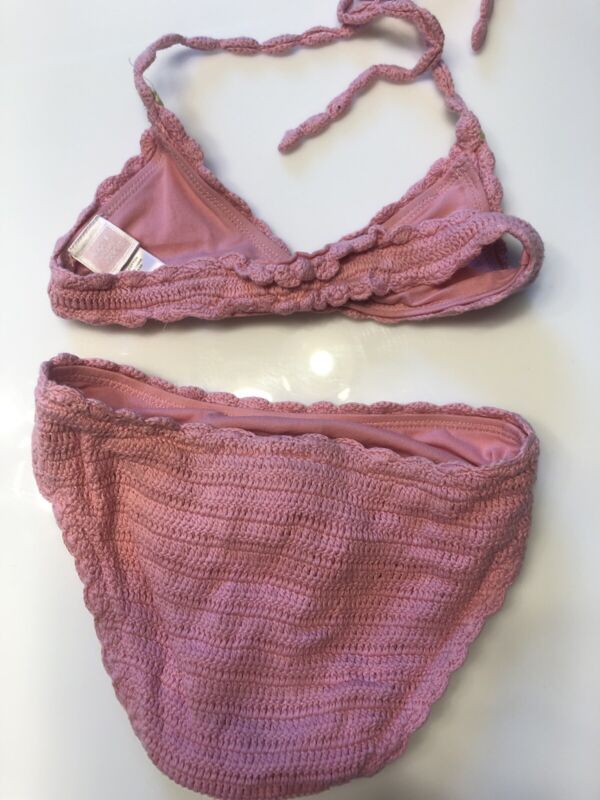 Girls Janie and Jack crochet pink bikini Swimsuit 3 3T