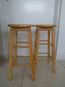 Two Bar Stools wood