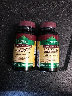 (2) Finest Nutrition Activated Charcoal 260 mg, 60 capsules each New (Cab1) (260 Mg 60 Capsules)