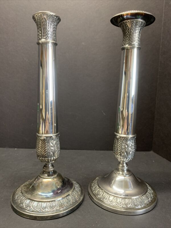 """Antique 19th C. Chinese Export Silver Candlesticks Mark Of Wu Hua, Beijing 11"""" H"""