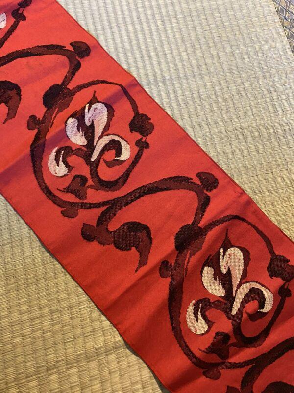 Vintage Japanese Nagoya Obi/  Red Color / Flowers #675