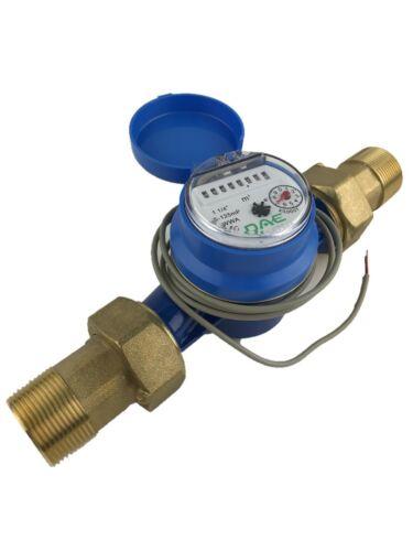 """DAE AS-125mP 1-1/4"""" Water Meter, Pulse Output, Cu meter + 1-1/4"""" NPT Couplings"""