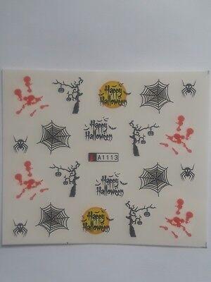 USA HALLOWEEN Water Transfer Nail ART DECALS Pumpkin Ghost Cat Spider Blood Bat