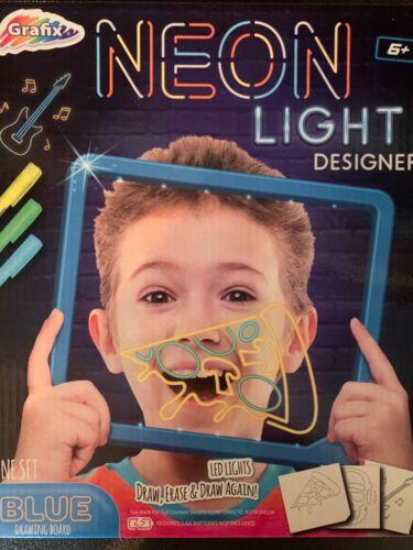 Grafix Kids Neon Light Designer. Blue Drawing Board Draw, Erase & Draw Again 6+