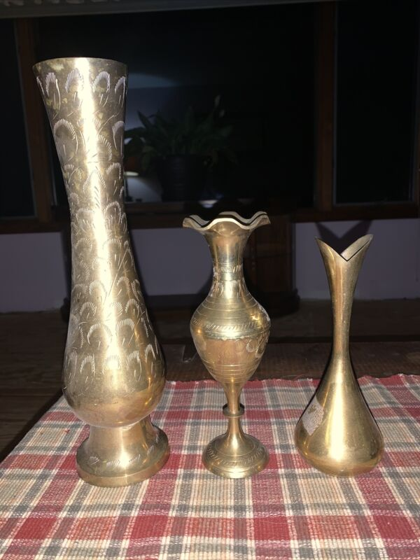Vintage (3) Solid Brass Vases Made In India