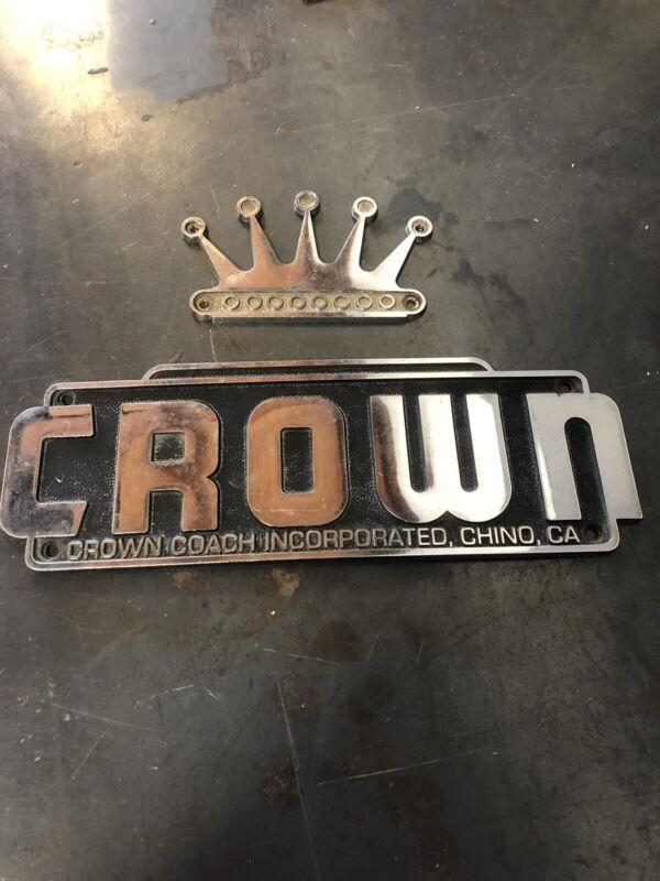 Vintage Crown Coach Corp Bus Emblem 1970s OEM