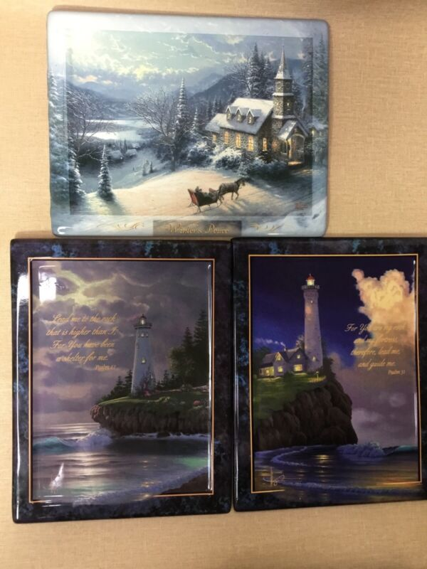 Thomas Kincade Set Of 3Collectible Plate, Winter Peace,Light Of Faith,Numbered