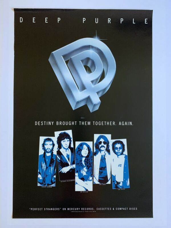 "Original 1984 Deep Purple Perfect Strangers Promotional Poster 24"" X 36"""