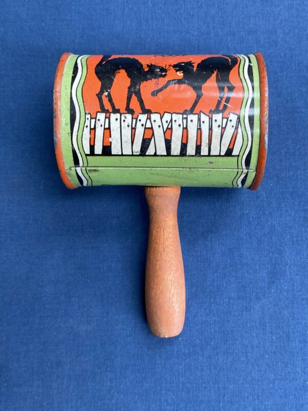 Vintage Halloween Noise Maker Tin Shaker Rattle Black Cats Bat Moon Made in USA
