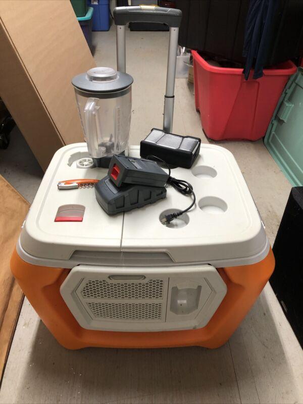 Coolest Cooler - Orange, Blender, Bluetooth Speaker, Plates,  Needs Battery