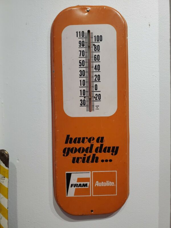 """Vintage Fram Autolite Thermometer Orange and White """"Have a good day with..."""