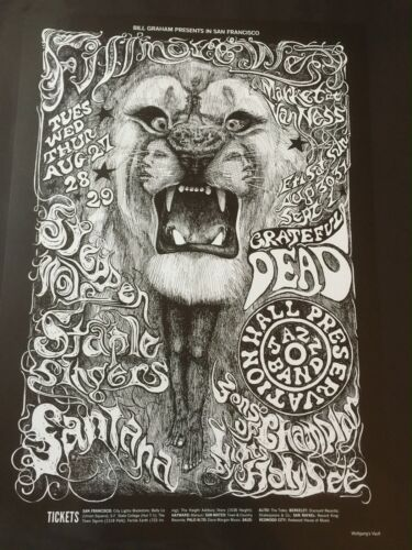 Santana Steppenwolf Grateful Dead BG 134-4 1968 Concert Limited Edition Poster