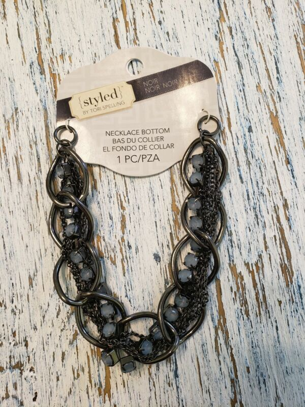Tori Spelling Necklace Bottom-DIY Noir New Black Chain and Crystal