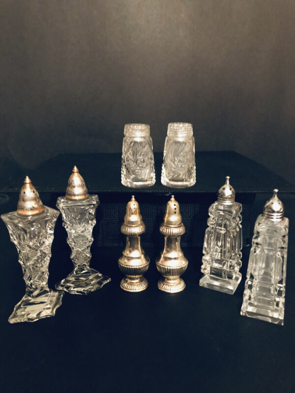 VINTAGE CUT GLASS CRYSTAL SALT AND PEPPER SHAKERS 3 SETS/ 1 SET SILVER PLATED