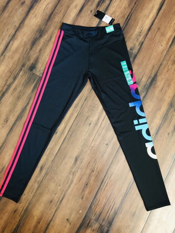 NWT Adidas Youth Girls Leggings- size XL (16) black with Pink stripes