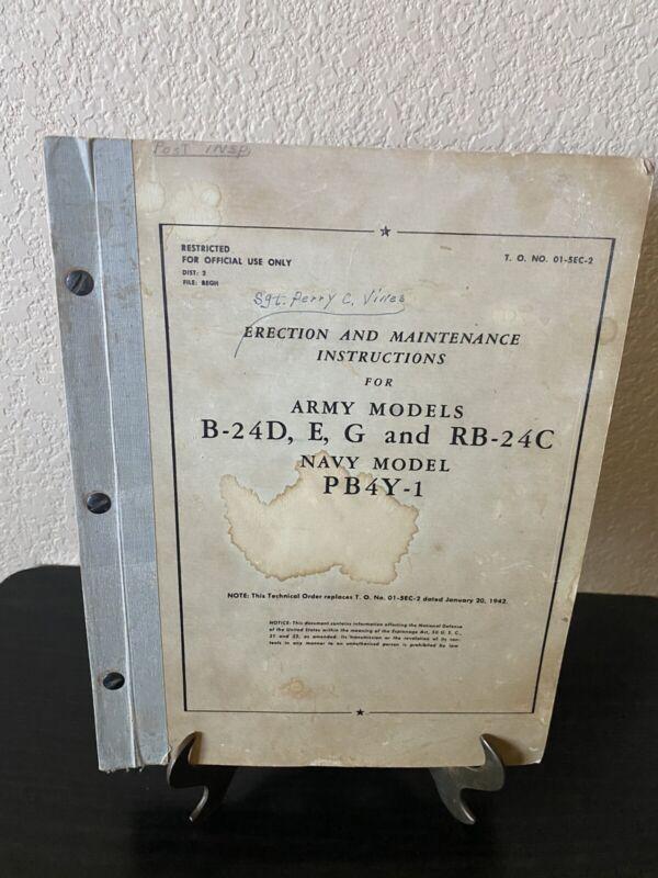 Orig. 1943 Erection Maintenance Instructions Army B-24D RB-24C Navy Model PB4Y-1